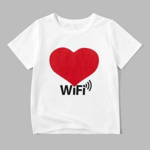 A white t-shirt with a red heart on it Description automatically generated
