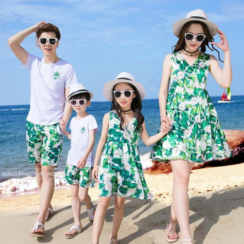 Mẫu áo đôi gia đình họa tiết hoa - lá - cành