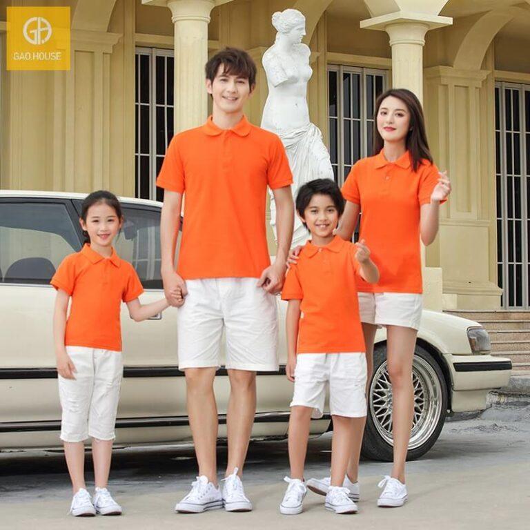 Mẫu đồng phục gia đình cổ bẻ trẻ trung, năng động