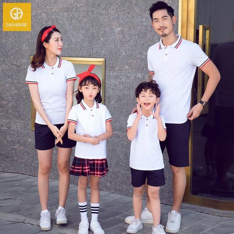 Mẫu áo gia đình cổ bẻ cho 4 người tone màu trắng khỏe khoắn