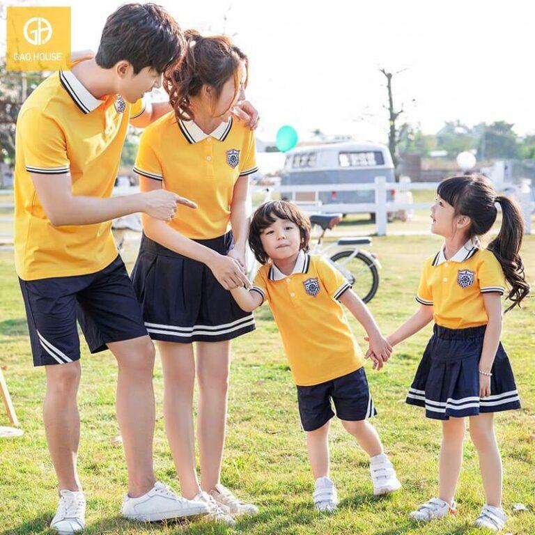 Set đồng phục gia đình cổ bẻ năng động nhưng không kém phần thanh lịch luôn được nhiều gia đình lựa chọn