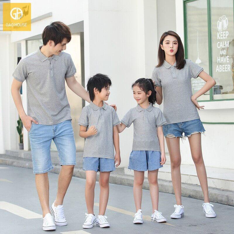 Set đồng phục gia đình cổ bẻ cho 4 người